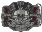 Dead Men Tell Tell No Tales, Jolly Roger Flags, Cannons and Crossbones Belt Buckle with display stand. Code KA7